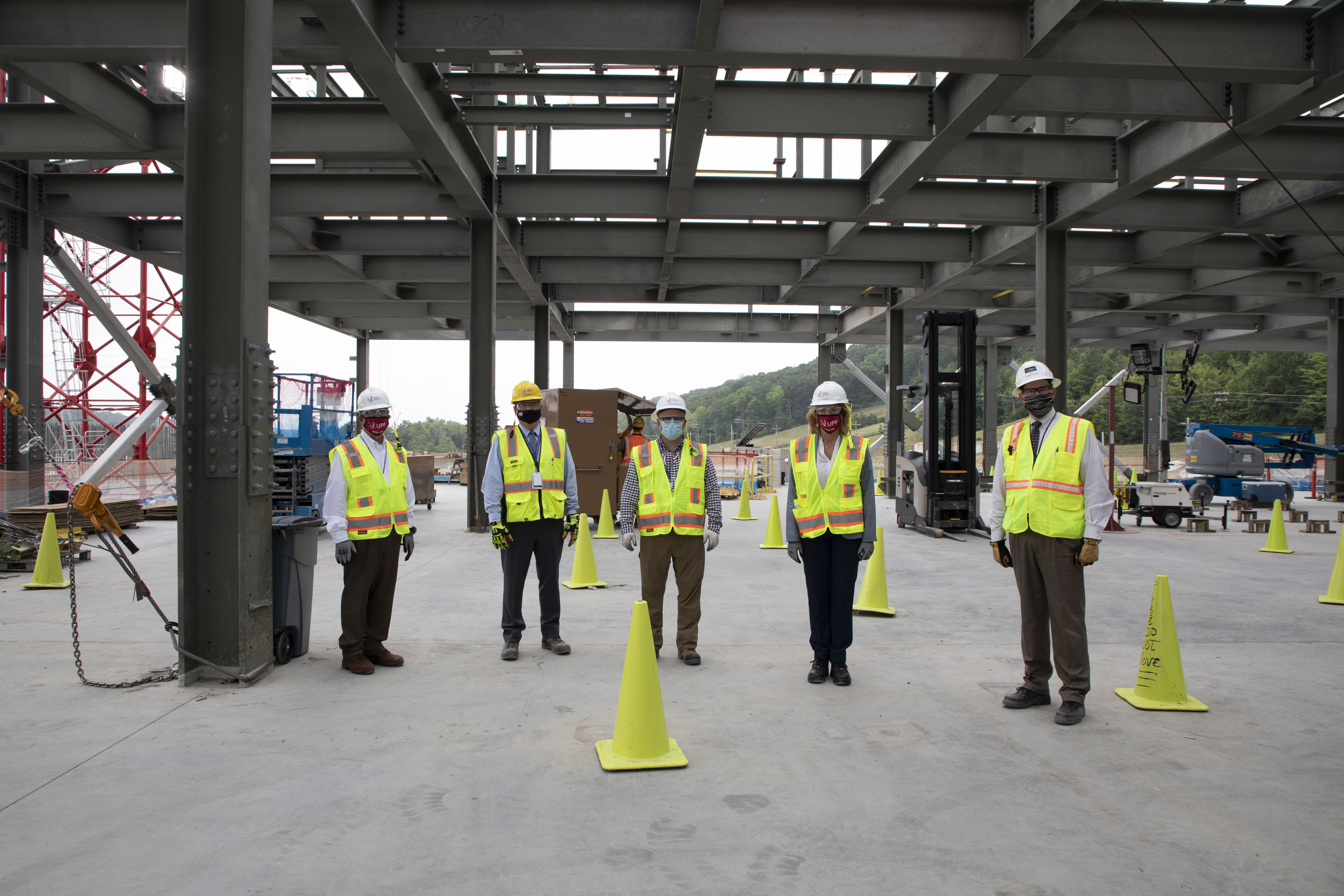 From left: Doug Fremont, NNSA chief of staff; John Howanitz, UPF project director; Randy Holman, UPF area manager for the Salvage and Accountability Building; NNSA Administrator Lisa Gordon-Hagerty; and Dale Christenson, UPF federal project director during the administrator's visit to Y-12 on August 27, 2020