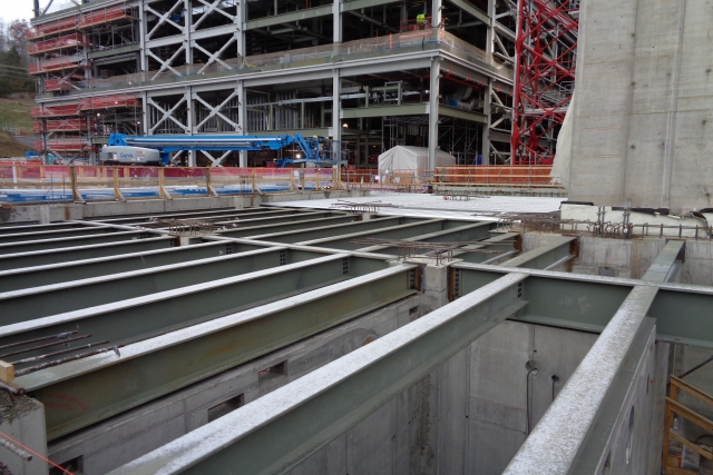 The Process Support Building begins to take shape with the installation of the structural steel.