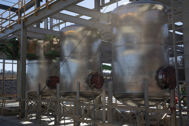 Bulk waste water tanks at the Process Support Facilities.