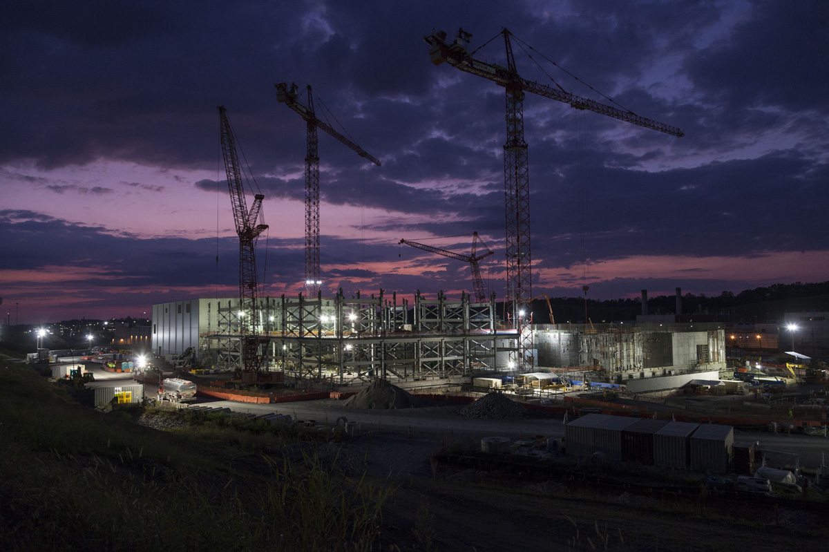 The Uranium Processing Facility Project glows in the early morning Tennessee sunrise.