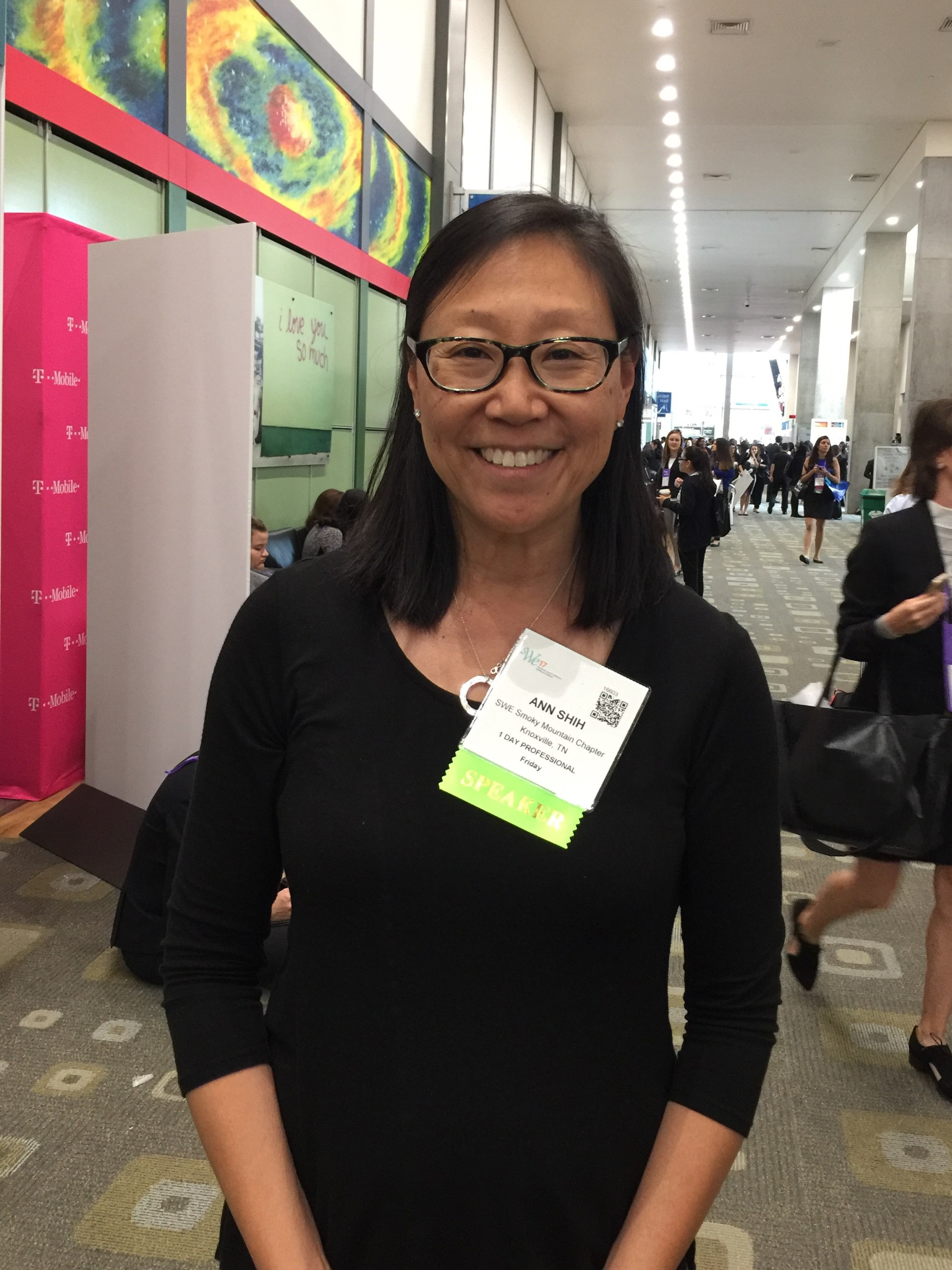 Y-12 process engineer and Society of Women Engineers member, Ann Shih, at the 2017 National SWE Conference where she was a speaker.