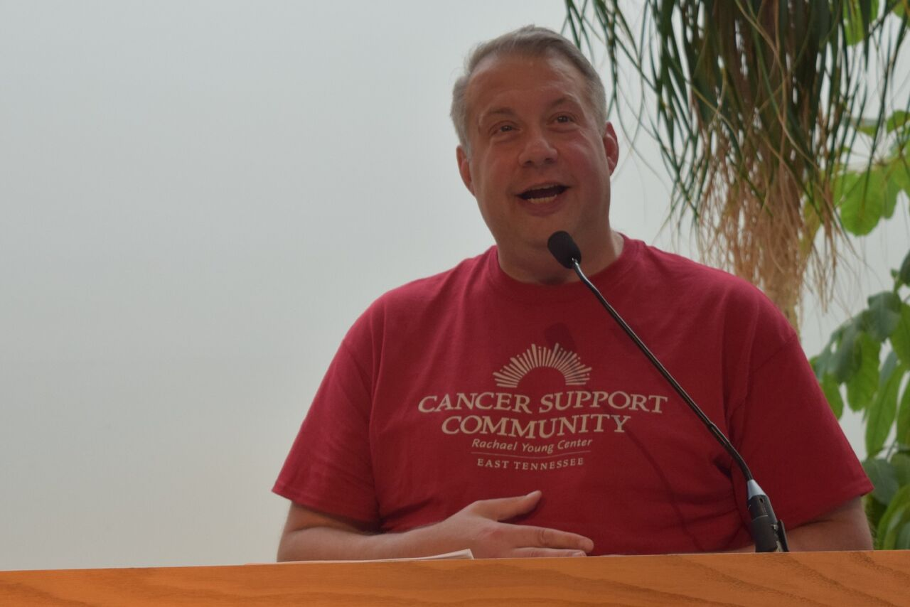 Cancer survivor Michael Holtz once attended Cancer Support Community of East Tennessee, now he serves on the board and as de facto emcee for the organization.