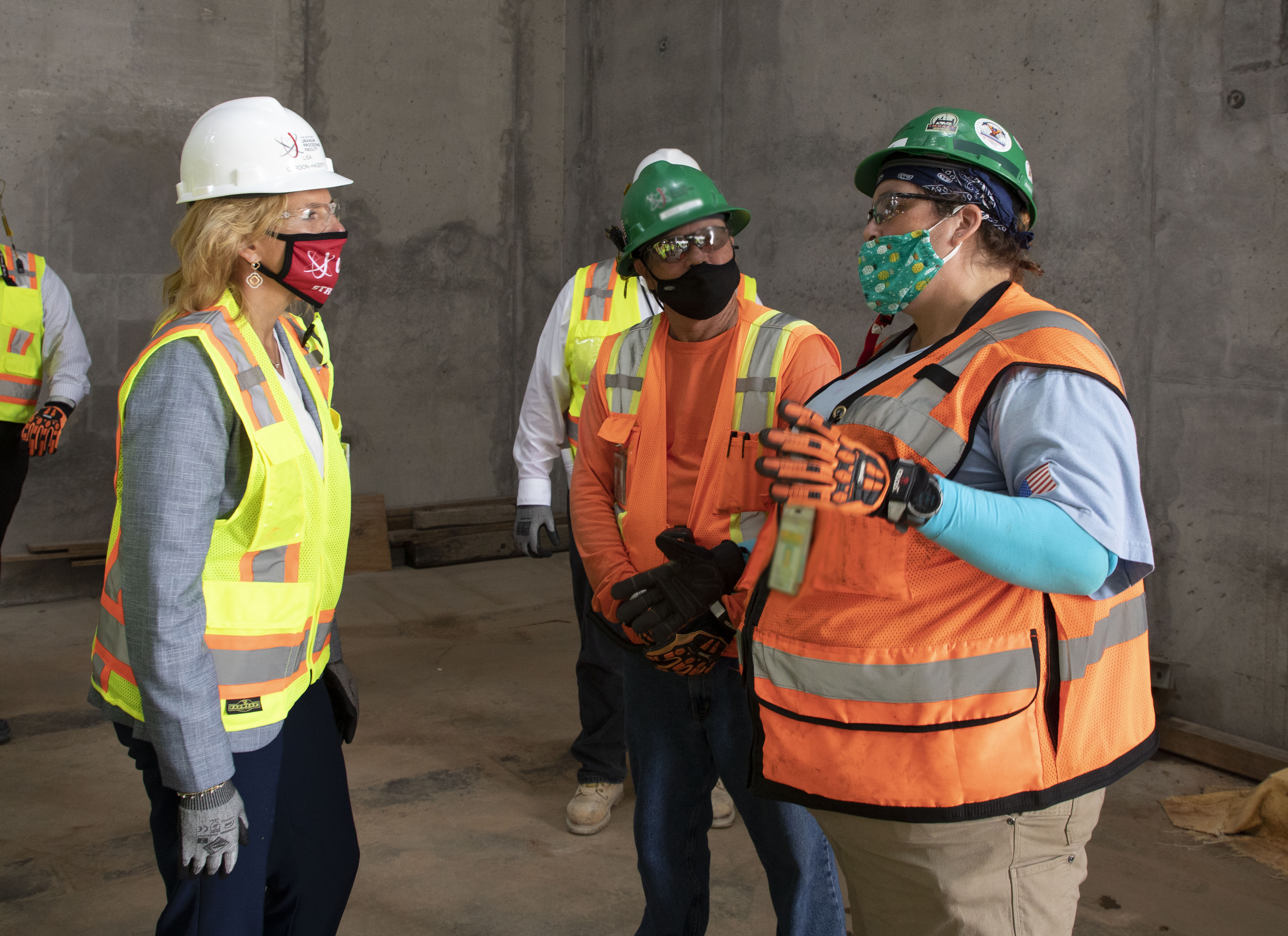 NNSA Administrator Lisa E. Gordon-Hagerty with UPF Iron Workers in the Main Process Building