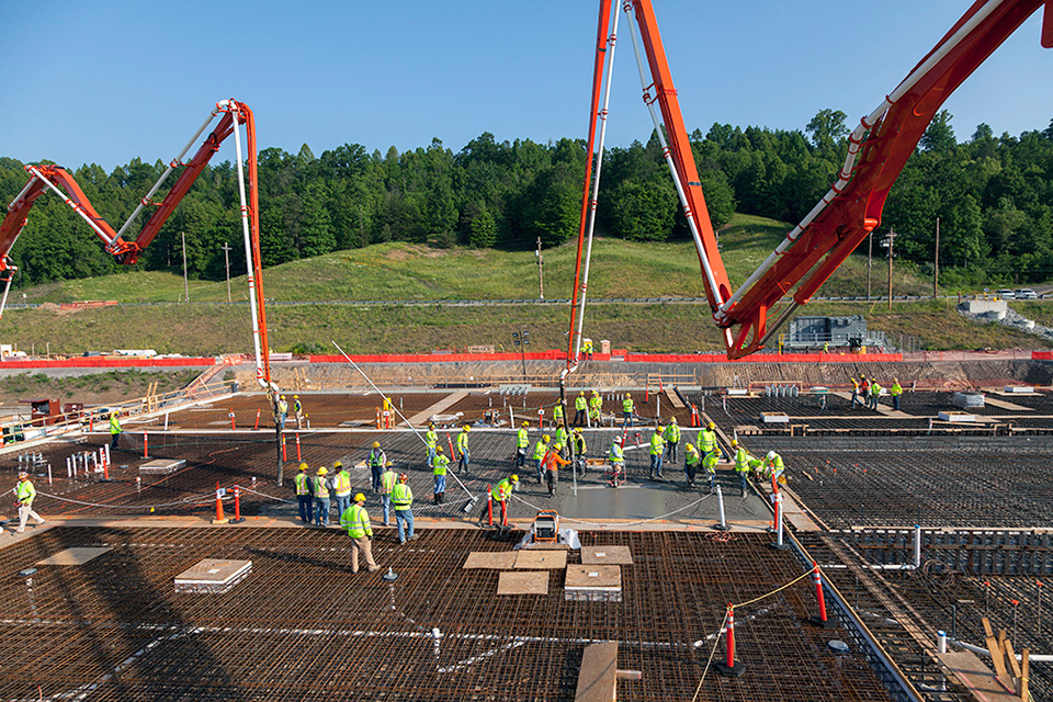 Crews began placing concrete for the slab of the Mechanical Electrical Building in May.