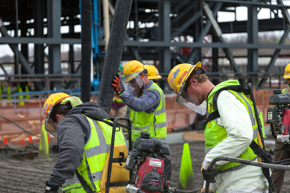 Crews continued to place concrete for the base slab of the Main Process Building in January.