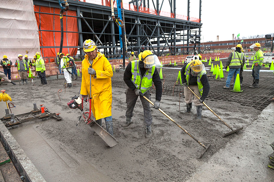 Concrete is being placed for the base slab of the Salvage Accountability Building (SAB). The concrete placement for the SAB slab will continue through the spring.