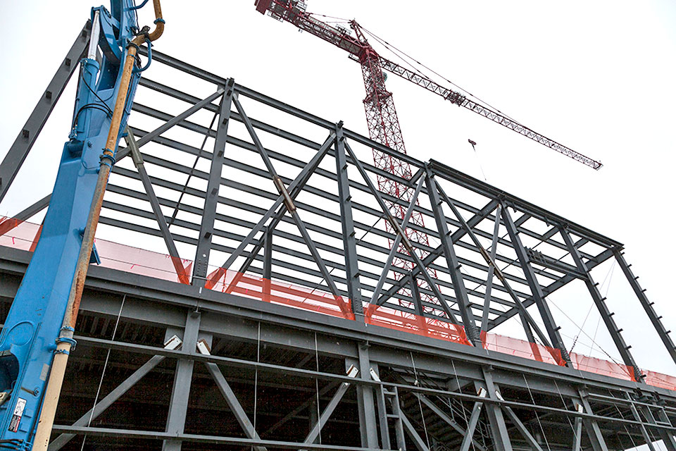 Installation of roof decking will begin when the second level steel is complete on the Mechanical Electrical Building, which is scheduled for February.