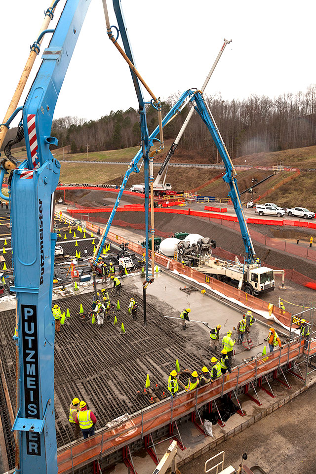 Concrete placement has begun for the slab of the Salvage and Accountability Building (SAB).  When complete, SAB will house waste preparation, decontamination, non-destructive assay and chemical recovery support systems.