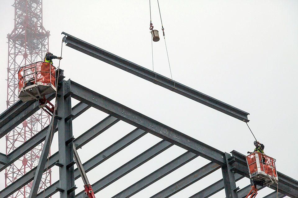 The last piece of structural steel was placed on the Mechanical Electrical Building on Feb. 11. The roof and the panels that make up the walls will be installed next. Completion is scheduled for early summer.