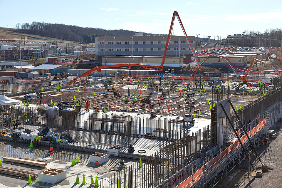 Concrete placements for the base slab of the Main Process Building were completed in February. Nearly 24,000 cubic yards of concrete were used for the slab.