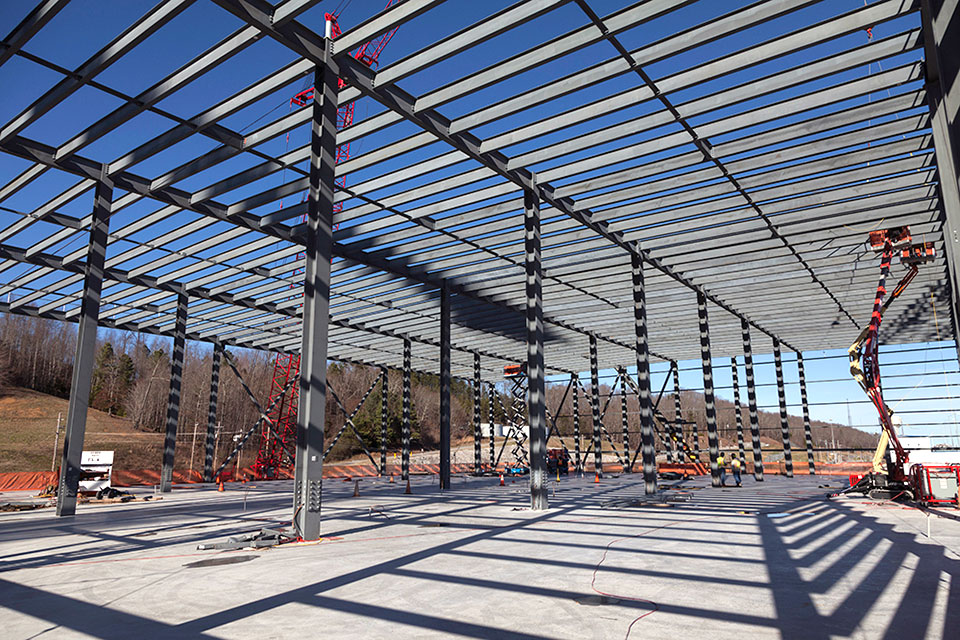 Roof decking and wall panels will be installed on the Mechanical Electrical Building now that structural steel has been placed.