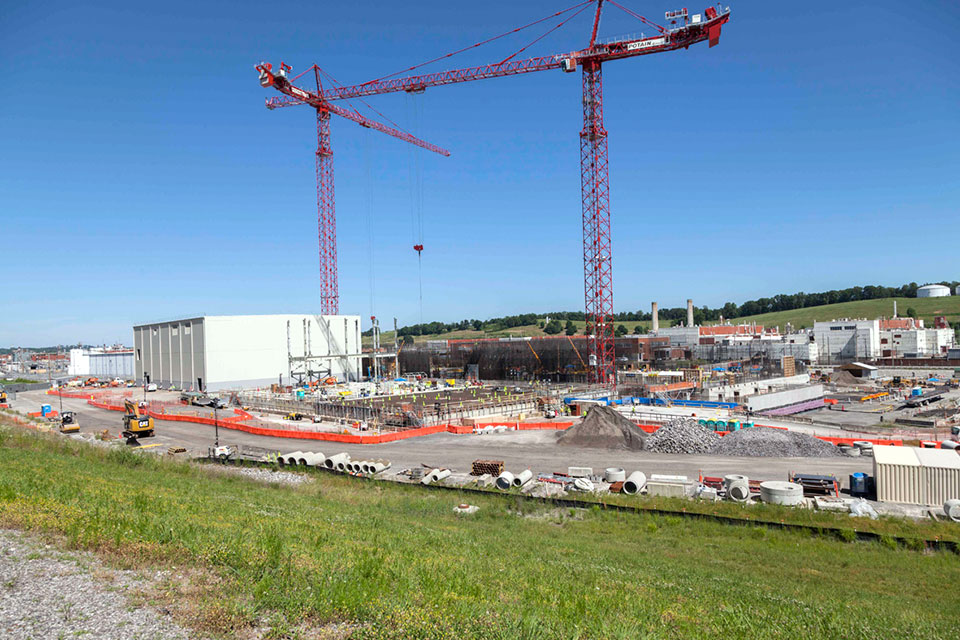 Recent progress at the Uranium Processing Facility can be clearly seen now that the Mechanical Electrical Building is enclosed, structural steel is up at the Salvage and Accountability Building, and concrete placements continue for vertical walls at the Main Process Building.
