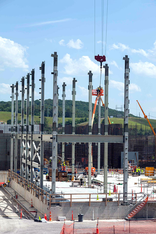 Structural steel continues to be installed at the Uranium Processing Facility Project's Salvage and Accountability Building. The steel columns currently being installed are about 60 feet tall and weigh between 10.5 and 12.5 tons each.