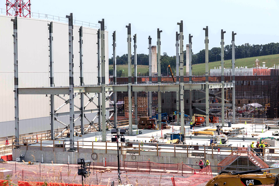 Steel at the Uranium Processing Facility Project's Salvage and Accountability Building  continues to be installed in rows from south to north, progressing across the building from east to west.