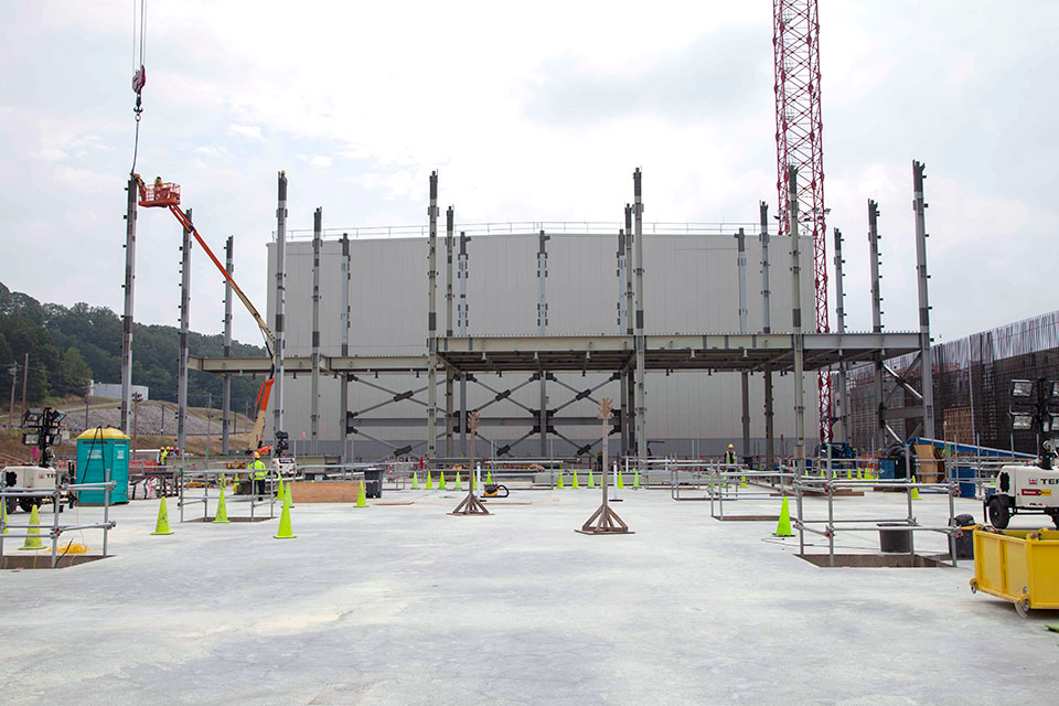 Structural steel continues to be installed at the Uranium Processing Facility Project's Salvage and Accountability Building. At 127,000 square-feet, the three-story SAB footprint is approximately the size of one football field.