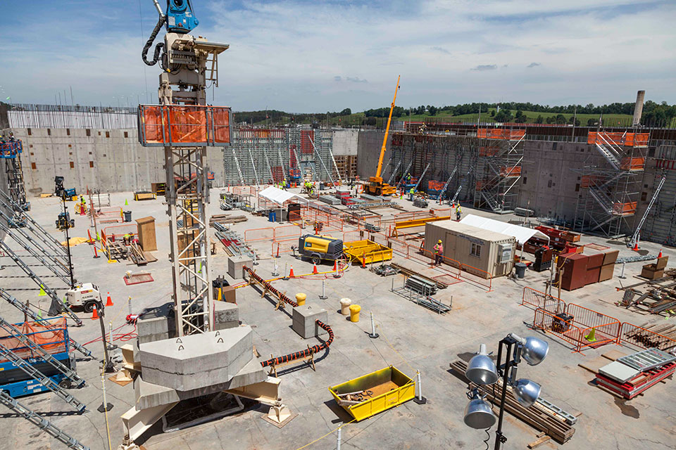 The Uranium Processing Facility Project team has completed the first four Main Process Building walls and all the 27-foot elevation rebar curtain walls have been erected.