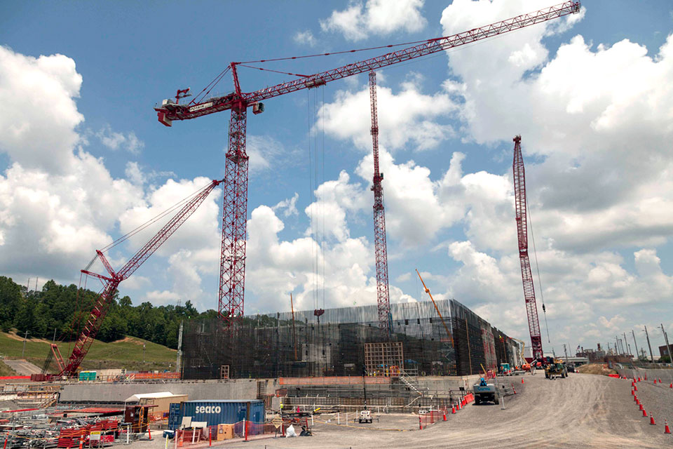 Two additional cranes have been added at the Uranium Processing Facility site to support steel installation at the Salvage and Accountability Building, and rebar wall curtain placement at the Main Process Building.