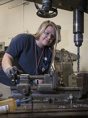 Katie Mead, a first-year apprentice as an outside machinist
