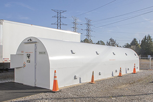 The new storm shelter located at the Material Acquisition and Control Center (at East Tennessee Technology Park) is rated to withstand and EF5 tornado.