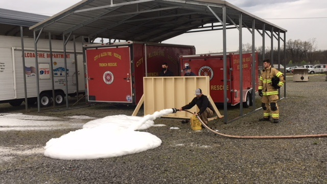 Y-12 Fire Department recently tested a new environmentally safer foam with the Alcoa Fire Department