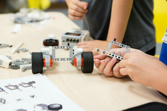 A robot being built using LEGO MINDSTORMS technology