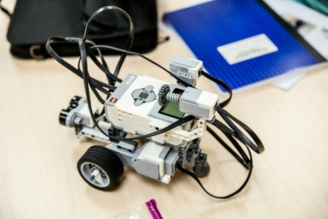 A robot built using LEGO MINDSTORMS technology