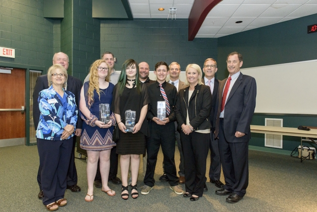 Clinton Middle School wins the inaugural Dream It. Do It. Competition May 2016. Front row (left to right): Janet Hawkins, Paige Cooper, Sierra Patrick, Anthony Burkett Hundley and Kristin Waldschlager of CNS. Back row (left to right): Anderson County Chamber President Rick Meredith, Jack Spangler, Jonathan Lewis, Kelly Myers and Jason Bohne and Jim Zonar of CNS.