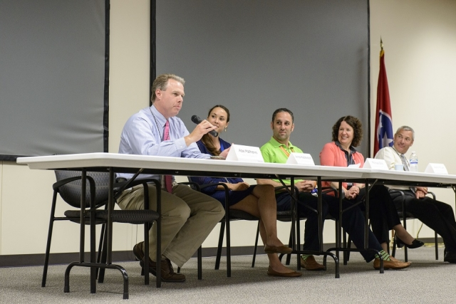 Y-12 panelists share their education background and career experiences as science, technology, engineering and mathematics professionals with local teachers.