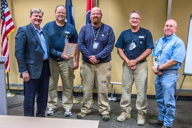 Receiving the 90‑Day Safety Challenge Achievement Award in October (from left) are: Bill Tindal, Joe Williams, Patrick Hubbard, Wayne Russell and Mark Lyons.