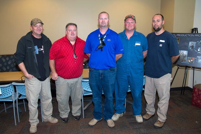 Members of Y-12 Special Operating crew celebrate their successful year, producing material for HFIR. From left: Rodney Raley, Steve Watson, Chad Owings, Andy Trentham, and Derek Chittum.
