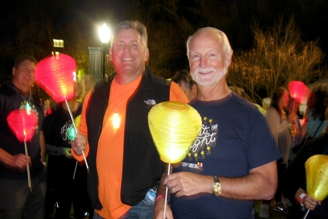 Vice President of Mission Engineering Mike Beck (left) and Vice President of Operations Support Darrell Graddy are supporters of the Leukemia and Lymphoma Society's Light the Night Walk. Beck was the team management sponsor in 2015 and 2016, Graddy the sponsor in 2014.