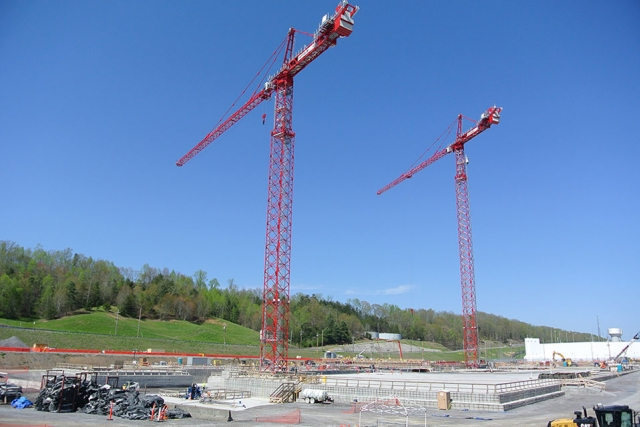 Two tower cranes, which are 300 and 360 feet tall, will be used to move materials and equipment during construction of UPF.