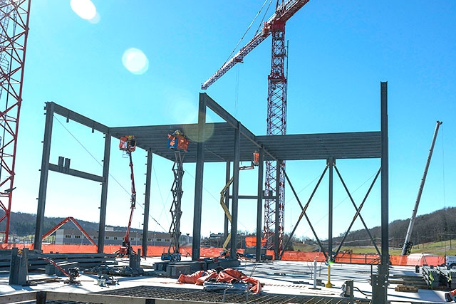 Steel installation for the second level of the UPF's Mechanical Electrical Building recently began.
