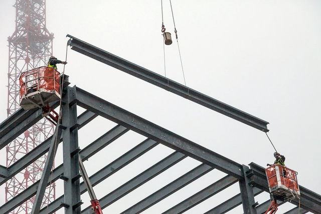 The last piece of the structural frame was placed Feb. 11 for UPF's Mechanical Electrical Building.