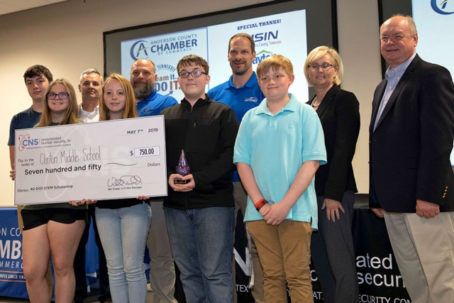 Clinton Middle School's video about Protomet took second place, netting $750 for their school's STEM education fund. Aaron Bullock, Brady Byrge, Matthew Earley, Sifa Gatho, Ashlyn Smith and teacher Jonathan Lewis were the team members.
