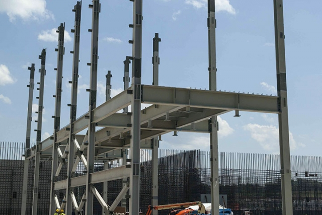 The first pieces of structural steel were installed at the Salvage and Accountability Building, marking a major milestone in the construction of the three-stories-tall building.