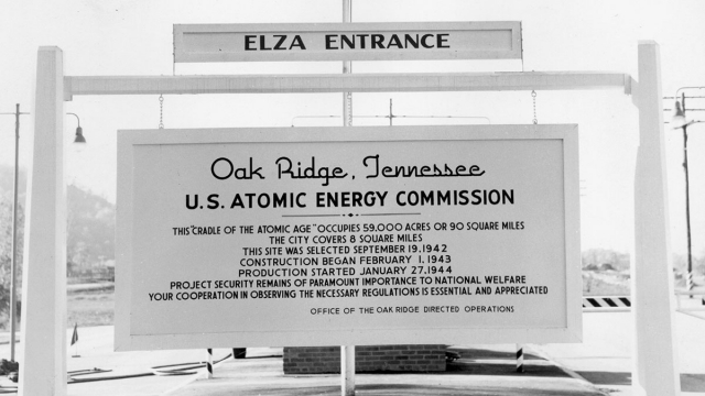 Elza Entrance Sign for the Oak Ridge, Tennessee U.S. Atomic Energy Commission