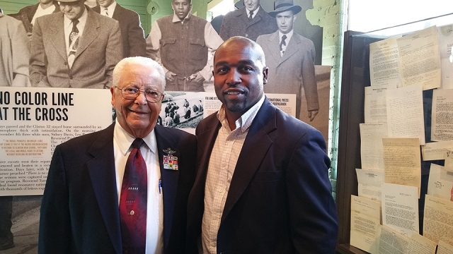 "CNS's Cary Langham (right) met Tuskegee Airman Lt. Col. George Hardy at the Tuskegee Airmen's ""Rise Above"" traveling exhibit."