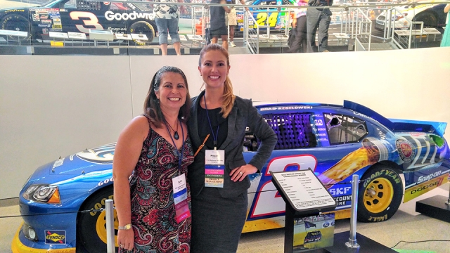 Y‑12's Megan Houchin, right, enjoys a Women in Nuclear networking event at the NASCAR Hall of Fame in Charlotte, North Carolina. With her is Julie Ezold of the Oak Ridge National Laboratory.