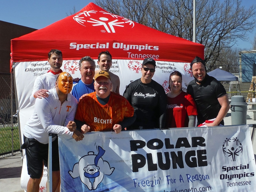 UPF employees collected donations to determine who would take the Polar Plunge, a leap into the University of Tennessee's outdoor swimming pool.