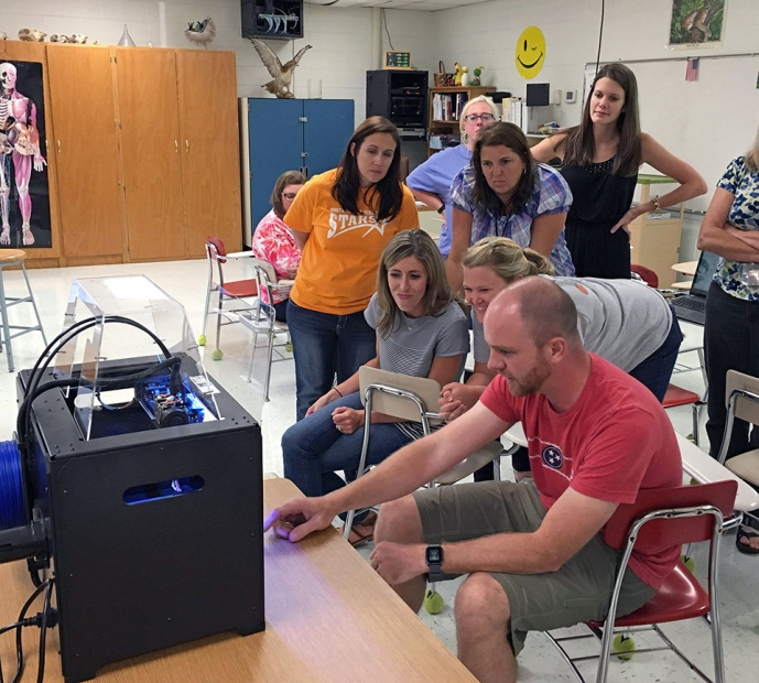 Ben Green engages with North Middle School teachers helping equip them with emerging technologies in the classroom.